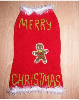 Red Christmas Dog Sweater - Gingerbread