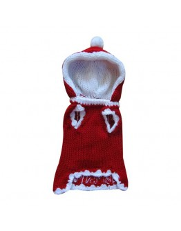 Red Christmas Dog Sweater with Christmas Tree and Hood