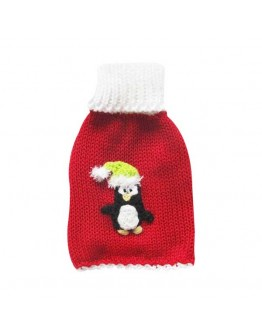 Red Turtleneck Christmas Dog Sweater with Penguin