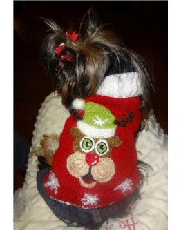 Red Turtleneck Dog Sweater with Christmas Reindeer