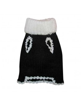 Black Turtleneck Christmas Dog Sweater with a Smiling Snowflake