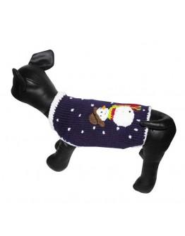 Purple Dog Sweater with Snowman