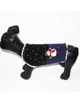 Winter Dog Sweater with Snowman and Christmas Tree