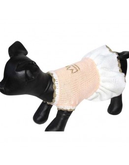 Peach Color Designer Dog Dress with Crown