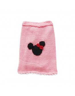 Pink Dog Sweater For Girls With Minnie Mouse
