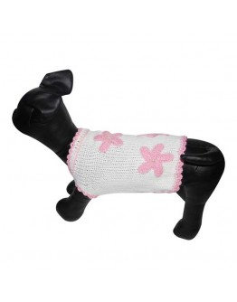 White Dog Sweater with 3 Flowers
