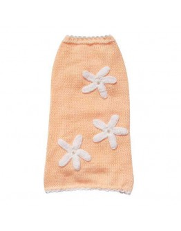 Peach Color Dog Sweater with 3 Flowers
