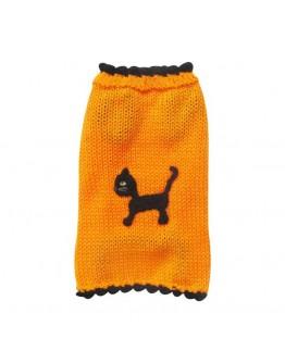 Orange Halloween Dog Sweater with Black Cat